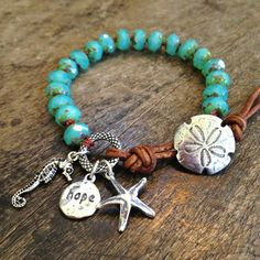 Sand Dollar Turquoise Knotted Leather Wrap by TwoSilverSisters