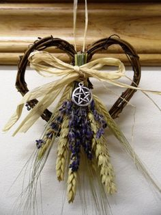 ✯ Handfasting Pagan Valentine Wheat & Lavender Hearts with Pentacle Charm.:: Etsy Shop PositivelyPagan ✯