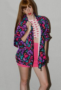 Vintage Abstract Print Multi Colored Bomber Jacket!