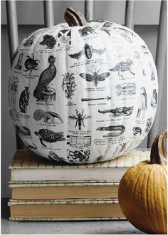 Although done with decoupage, this would be great with image transfers over white acrylic. The Un-Carved Pumpkin