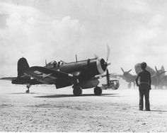Vought F4U-1, of VMF-114, 1st Marine Division on the ground in Peleliu, 1944
