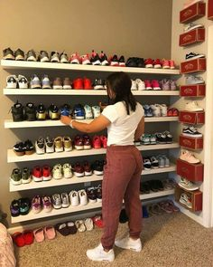 Easy Shoe Storage Ideas for Small Spaces You'll Love Great collection love the vans boxes on the wall as shelving units Shoe Storage Small, Closet Shoe Storage, Shoe Shelves, Shoe Storage Ideas For Small Spaces, Shoe Storage On Wall, Storage Boxes, Shoe Closet Organization, Pantry Closet, Shoe Racks