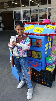 Troop 14578 with their cookie vending machine at their Girl Scout Cookie Booth | #BlingMyBooth #GirlScoutCookies