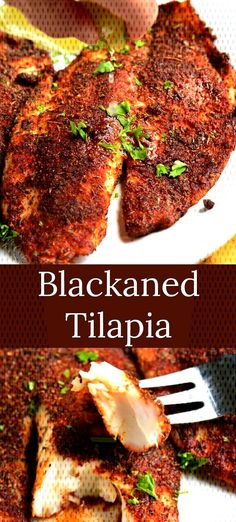 Blackened Tilapia recipe that's done in only 20 minutes and tastes incredible. Juicy, flaky tilapia fillets are dipped in melted butter and generously coated in a homemade blackening seasoning. Keto Tilapia Recipe, Tilapia Fish Recipes, Easy Fish Recipes, Clean Recipes, Baby Food Recipes, Seafood Recipes, Healthy Recipes, Drink Recipes, Blackened Fish Recipe