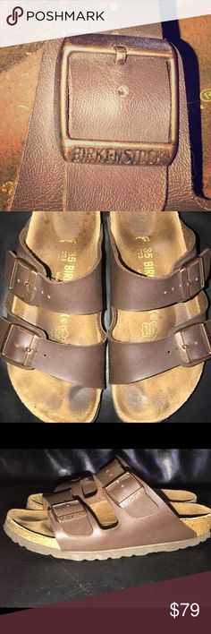 Birkenstocks Sz 35 Arizona style Size 35 Worn indoors 3 times before my daughter out grew. Excellent almost new condition. Classic Arizona style authentic Birkenstock sandals. Perfect for spring - comfort and on trend. Birkenstock Shoes Sandals