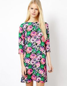 River Island Neon Flower Print Shift Dress
