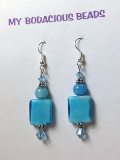 Handmade 2.25 AQUA Blue Art Glass Squares by MYBODACIOUSBEADS