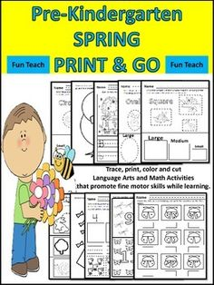 This packet contains 64 pages of activities for young pre-k students that focus on improving fine motor skills while learning. The activities are fun and engaging. All you need to do is print out this packet and you are ready to begin. The theme for each page is centered around the Spring Theme.Students will enjoy the Art color, cut and paste activities, the math activities and the language art activities.This workbook can also be used for Kindergarten students who need some reinforcement.