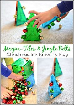 Simple Christmas invitation to play for toddlers and preschoolers using Magna-Tiles and jingle bells from And Next Comes L activities Christmas STEM Activity for Kids with Magna-Tiles & Jingle Bells Holiday Activities, Stem Activities, Activities For Kids, Crafts For Kids, Toddler Gross Motor Activities, Christmas Activities For Toddlers, Noel Christmas, Simple Christmas, Christmas Themes