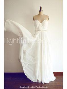 A-line Wedding Dress - Ivory Floor-length Sweetheart Chiffon 2016 - $119.99