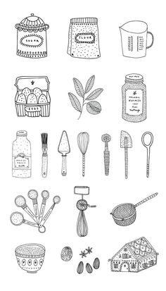 Baking illustration by Ryn Frank Illustration Inspiration, Cake Illustration, Baking Muffins, Baking Cupcakes, Baking Cookies, Savoury Baking, Vegan Baking, Healthy Baking, Oreo Bars