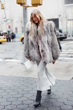 Street style. Note: the fur coat.