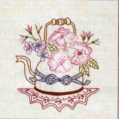 Pot O' Posies By Bronwyn Hayes  Kit includes DMC stranded cotton, calico, transfer paper, embroidery needle and all instructions.  Stitched area is 13 cm x 13.5 cm  Could be used as a picture, cushion top, or panel in a quilt.