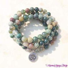 Bracelet Mala Chanceuse De 108 Perles En Agate Indienne Ohm