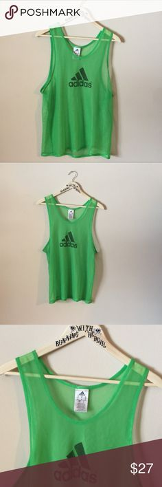 ♣️ VINTAGE || 90s • Neon green mesh ADIDAS tank ♠️ VINTAGE • NEON GREEN MESH ADIDAS WORKOUT MUSCLE TANK/TEE! Men's mesh sheer see through gym tank top. very bright. In great condition, no stains, rips, tears or cracking.  **Please  note that you are purchasing a USED/VINTAGE t-shirt. The more loved an item is, the better!** ♠️ SIZE • Men's medium   ☠️ b u n d l e to s a v e ☠️ m a k e an o f f e r ☠️  #adidas #logo #mesh #vintage #vtg #retro #throwback #graphictee #euc #green #sheer #workout…