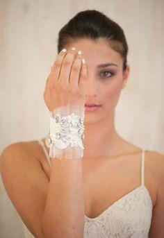 wedding jewelry, Ivory lace Bracelet, bridal cuff Bracelet, beaded lace  pearls and rhinestone, Embroidered cuff  Bracelet  jewelry, Sparkle. $68.00, via Etsy.