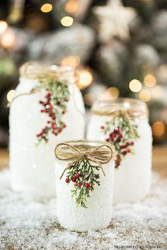 DIY Snowy Mason Jars – create faux snow-covered mason jar luminaries for the holiday season. bottle crafts with lights DIY Snowy Mason Jars Wine Bottle Crafts, Mason Jar Crafts, Mason Jar Diy, Bottle Bottle, Wine Bottles, Mason Jars With Glitter, Mason Jar Burlap, Jelly Jar Crafts, Wedding Mason Jars