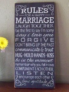 Rules For A Happy Marriage Hand Stenciled by PaintedWordsByRemi, $39.95