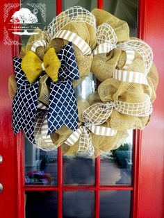 "Burlap Wreath 24"" - Moroccan - Denim Ribbon - Yellow Burlap - Front Door Wreath - Wreath - Spring Wreath - Summer Wreath - Welcome Wreath by TheSeptemberTree on Etsy"