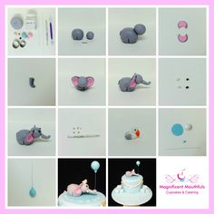 In this 14 step tutorial, you will learn how to make an elephant cake topper for the ever popular baby shower / little boys birthday cake theme. Elephant Cake Toppers, Elephant Baby Shower Cake, Elephant Cakes, Elephant Party, Baby Shower Cakes, Cake Topper Tutorial, Balloon Cake, Cake Business, Cake Decorating Tutorials