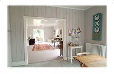 Painted paneling doesnt mean it has to be white! Paint Colors For Home, House Colors, Dorset House, Painted Panelling, Wall Panelling, Open Plan Kitchen Dining, Colonial Style Homes, Dream Decor, Beautiful Space