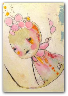 Pink Modern Art An Original Mixed Media Painting by ChristinaRomeo, $125.00