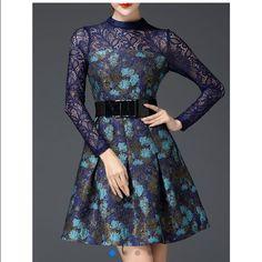 Blue lace top dress. Pierced cotton blend mini dress. Size small. It runs small. Dresses Mini