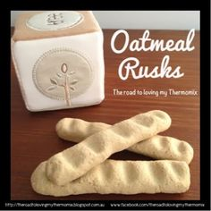 I would often make my older sons wholemeal rusks when they were younger but I thought Id experiment with oats this time. This take quite awhile to dry out and become hard. I don't suggest baking these on a hot day like I did.  These break a little easier then store bought risks. Rusks made with flour