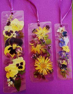 Laminated pansy viola calendula  buttercup bookmark by pauladyer1, $10.00