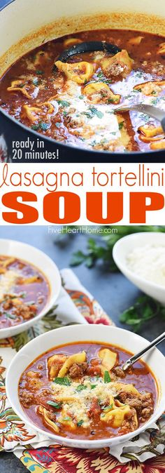 Lasagna Tortellini Soup ~ a flavorful stovetop recipe featuring ground beef, herbs, and Parmesan in a marinara-based broth that can be ready in just 20 minutes! | FiveHeartHome.com via @fivehearthome