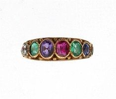 A Victorian DEAREST ring. The appropriate graduated oval shaped stones are set in gold. Engraved my dearest love.