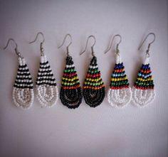 Black & White African beaded earrings