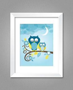 Owl Wall Art, Nursery Wall Art, Kids poster. $6.50, via Etsy.