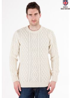 Jarvis - Aran Jumper - Pure British Wool - Mens Aran Jumper Sweater - Made in Great Britain   Sweateronline - Fine British Knitwear
