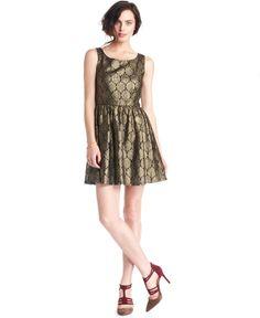 Metallic Brocade Perfection. Maison Jules Dress Scoop-Neck Metallic Lace A-Line Dress