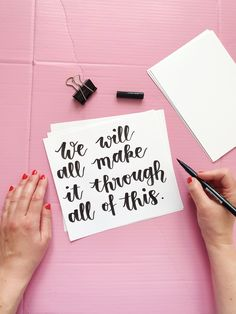 Free Handlettering Printable: We'll Make It Through This Brush Lettering, Hand Lettering, Tombow Pens, Make It Through, Brush Pen, Letter Board, Printables, Motivation, Drawings