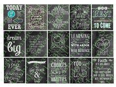 Digital chalkboard Planner Quote Stickers by WashiPlannerStickers