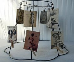 Photo collage using old lampshade frame lampshades pinterest vintage wire lamp shade frame postcard holder greeting card holder picture holder cottage chic greentooth Image collections