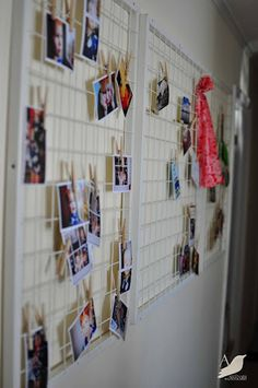 Wire frame and clothespins make quick, cheap, easy wall organizer