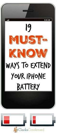 iPhone hacks / Iphone Battery / Extend iPhone Battery / iPhone Tips / iPhone 6 / iPhone 7 / Technology Tips / Life Hacks