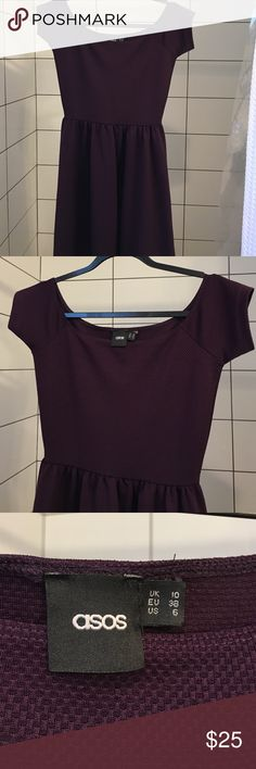 NWOT ASOS Midi Dress-US 6 NWOT ASOS Midi Dress in a US 6. This is a gorgeous eggplant color and has a waffle texture to the material. It's stretchy and doesn't wrinkle! Adorable caps sleeves and a wide neckline. ASOS Dresses Midi