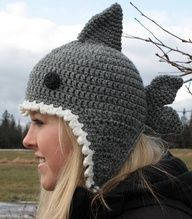 Crochet shark hat - nicely done!