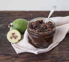 Feijoa Chutney kgs Feijoas, peeled and chopped 500 g Apples, peeled and chopped 500 g Onions, finely sliced 1 Ltr Malt vinegar 500 g Brown sugar 1 Tbsp Salt 1 Tbsp Ground ginger 1 Tbsp Crushed garlic 1 Lemon, grated rind only ½ tsp Mace Fejoa Recipes, Guava Recipes, Chutney Recipes, Snack Recipes, Cooking Recipes, Online Recipes, Cooking Fish, Recipies, Vegan Recipes