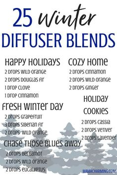 25 awesome winter diffuser essential oil blends! Diffuser blends for immune support, respiratory support, sleep, stress and cozy home.