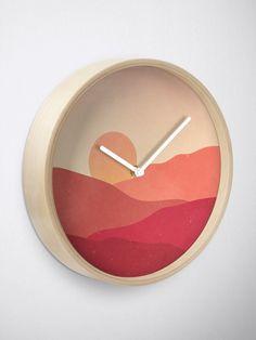 """Minimalist Sunset Landscape"" Clock by ind3finite | Redbubble Wall Prints, Canvas Prints, Sunset Landscape, Photo Wall Art, Clocks, Minimalist, Wall Decor, Design Ideas, Boho"
