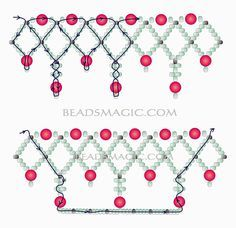 (tut) Free pattern for necklace Norma - u need Seed beads Pearl beads 6 mm and 8 mm . Beaded Necklace Patterns, Seed Bead Patterns, Beading Patterns, Art Patterns, Beaded Necklaces, Loom Patterns, Canvas Patterns, Knitting Patterns, Beaded Crafts