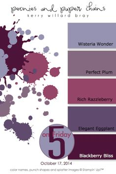 "Happy Friday, friends! It is time for a brand new five color combo! Today's is truly ""purplelicious"" and is the latest Ombre style color palette that I'm sharing:  And, to get you crafting with this p"