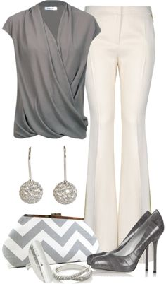 Ensembles : Business Casual : Grey Ruffle Short Sleeve Shirt : White Flare Dress Pants : Grey Stilettos : Grey and White Chevron Clutch
