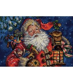 """Gold Collection Petite Nighttime Santa Counted Cross Stitch-10""""X8"""" 18 Count, , hi-res"""