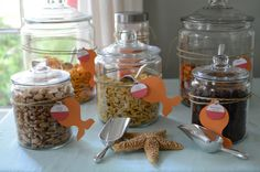 "Goldfish ""bar"" LOVE LOVE LOVE this idea!!!!! Take home treat bags for kiddos or snacks at the party!!!!"